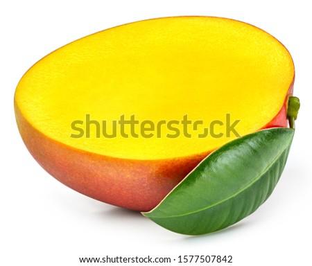 Mango isolated on white background. Mango half fruit Clipping Path. #1577507842