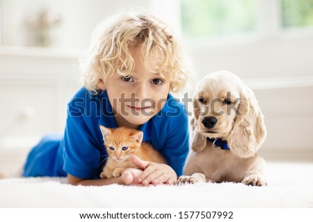 Child playing with baby dog and cat. Kids play with puppy and kitten. Little boy and American cocker spaniel on bed at home. Children and pets at home. Kid taking nap with pet. Animal care. #1577507992