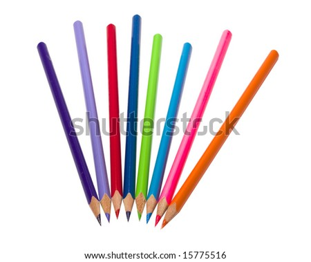 Eight colour pencils on isolated white background #15775516