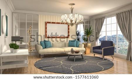 Interior of the living room. 3D illustration. #1577611060