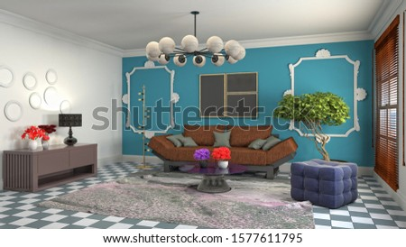 Interior of the living room. 3D illustration. #1577611795