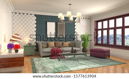 Interior of the living room. 3D illustration. #1577613904