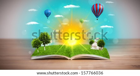 Open book with green nature world coming out of its pages, ecological concept #157766036