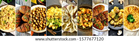 Food collage. A variety of food in the dishes. Top view. Cooked vegetables, pasta, dumplings, potatoes, mushrooms. #1577677120