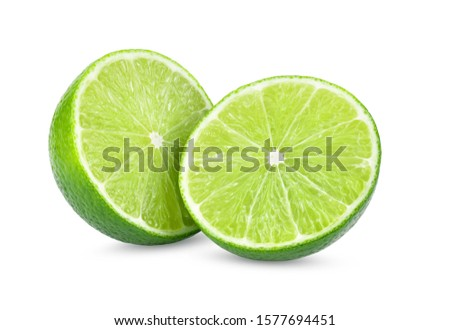 Isolated limes. Whole lime fruit and slices isolated on white background with clipping path #1577694451