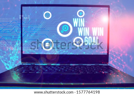 Conceptual hand writing showing Win Win Win Goal. Business photo showcasing Approach that aims to satisfy all parties involved. #1577764198