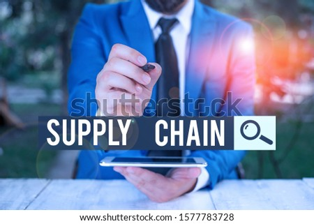 Handwriting text Supply Chain. Concept meaning network between a company and suppliers in producing a product Businessman pointing with pen in empty copy space. #1577783728