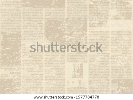 Old grunge newspaper paper textured background. Blurred vintage newspapers texture background. Blur unreadable aged news horizontal page with place for text, images. Sepia brown collage. #1577784778