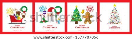Santa claus, christmas tree, bell, stocking, christmas tree, reindeer, present, snowman and christmas elements. Merry christmas. #1577787856