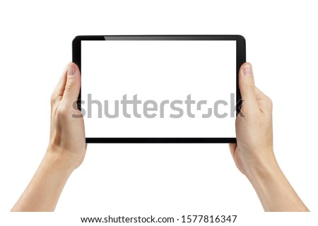 Hands holding black tablet, isolated on white background #1577816347