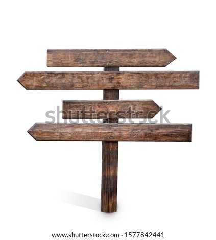 empty direction board on white background for metamorphing various choices #1577842441