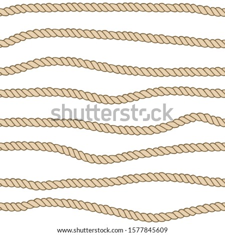 Marine rope line seamless pattern. Endless navy illustration with beige rope ornament, horizontal wavy lines on dark blue background. Trendy textured backdrop.  for fabric, wallpaper, wrapping #1577845609