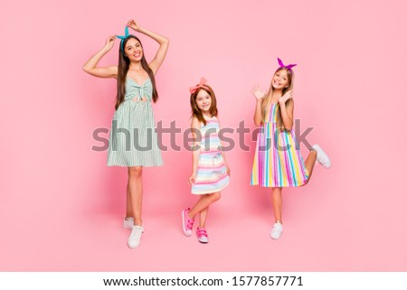 Full size photo of pretty ladies with bright headbands enjoying posing wearing dress skirt isolated over pink background #1577857771