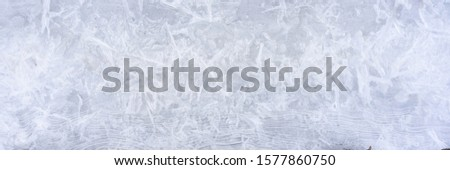 Transparent ice crystals texture cracked background. Frozen icy natural pattern. Winter snow ornament. Banner. Space for text. #1577860750