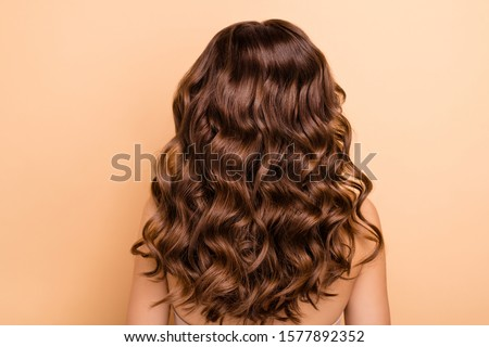 Back rear side photo of charming girl show perfect strong wellness hairstyle hairdo after hairdresser therapy coiffure have professional hair coloration isolated over pastel color background #1577892352