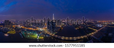Binh Thanh District and District Two Ho Chi Minh City Aerial  Panorama at night #1577951185