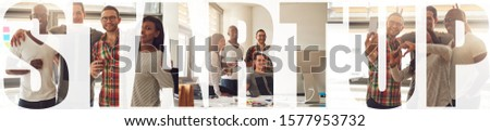 Collage of a smiling group of young businesspeople having fun working together in their office with an overlay of the word startup #1577953732