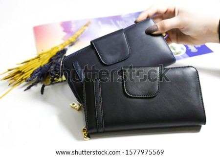 Woman Purse (wallet) isolated on the white background.  Royalty-Free Stock Photo #1577975569