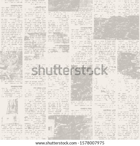 Newspaper seamless pattern with old unreadable text and images. Vintage blurred paper news texture square background. Textured page. Sepia beige collage. Print for textile, wallpaper, wrapping paper. #1578007975