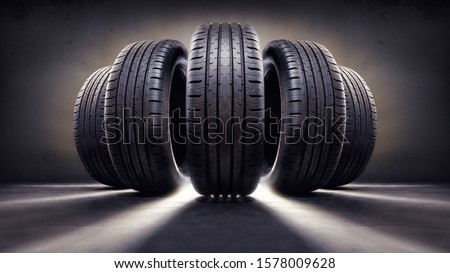 close up of five tires #1578009628