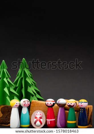 Christmas nativity scene of born child baby Jesus Christ in the manger with Joseph and Mary and Three wise men.Traditional Christmas Nativity Scene of baby Jesus in the manger with Mary and Joseph. #1578018463