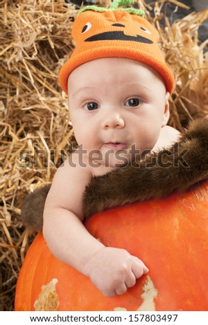 Baby in a pumpkin during Halloween photo shoot in the studio