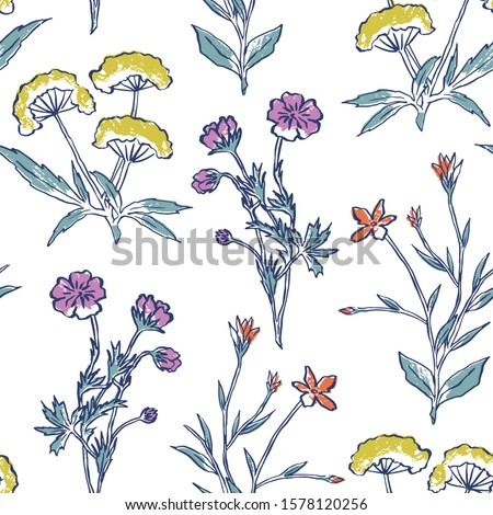 Vector seamless pattern with long stem flowers on pink background. Botanical hand drawn illustration. Alpine meadow repeat design. #1578120256