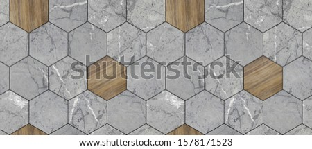 Wallpaper of grey solid marble and solid wood hexagon tiles with gray seams. High quality seamless realistic texture. #1578171523