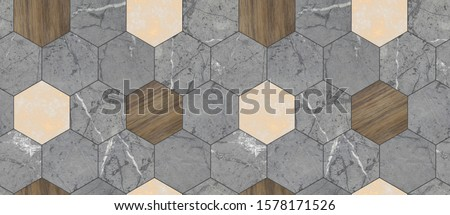 Wallpaper of grey solid marble and solid wood hexagon tiles with white golden decor. Black seams. High quality seamless realistic texture.