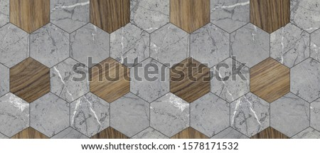 Wallpaper of hexagon tiles of grey solid marble and solid wood with gray seams. High quality seamless realistic texture. #1578171532