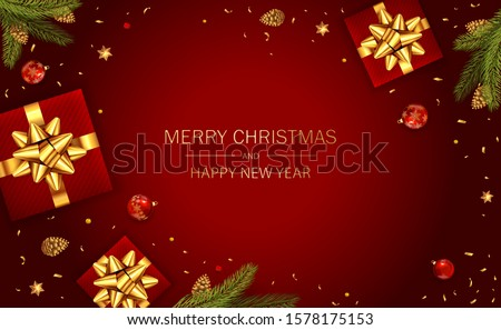 Christmas balls, holiday gifts with golden bow, fir tree branches, pine cones and shiny stars on red background. Illustration can be used for Christmas design, posters, cards, websites and banners. #1578175153