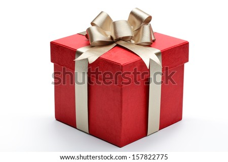 Red gift box with golden ribbon and bow Royalty-Free Stock Photo #157822775