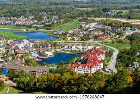 Aereal view of Blue Mountain resort and village during the autumn in Collingwood, Ontario #1578248647