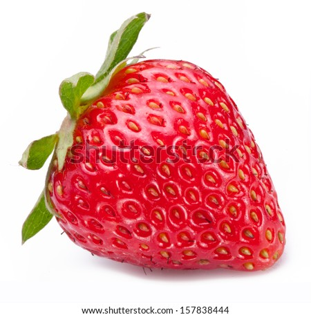 One rich strawberry fruit isolated on a white background. #157838444