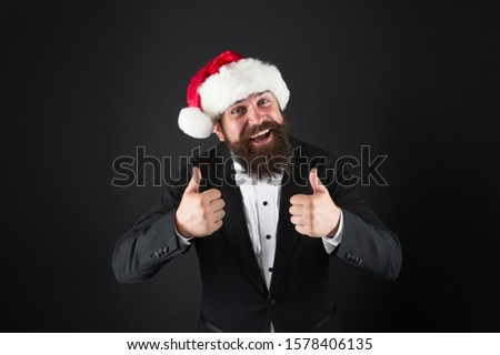 Best way to celebrate coming of new year. Happy businessman like new year celebration. Bearded man show thumbs ups. New year party. Merry Christmas. Happy new year. Enjoy and have fun. #1578406135