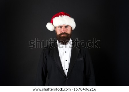 Insurance services. Manager celebrate new year. Christmas party. Corporate holiday party ideas. Corporate christmas party. Bank worker. Man bearded hipster wear santa hat. Christmas spirit concept. #1578406216