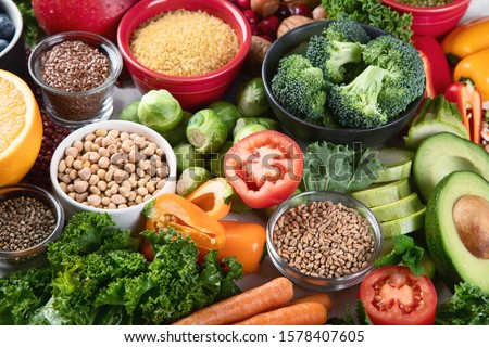Health vegan and vegetarian food concept. Foods high in  antioxidants, fiber, smart carbohydrates and vitamins.Top view  #1578407605