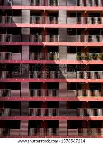 Apartment building abstract with corner to corner shadow #1578567214