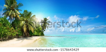 Beautiful tropical beach with white sand, palm trees,  turquoise ocean against blue sky with clouds on sunny summer day. Perfect landscape background for relaxing vacation, island of Maldives. #1578643429