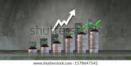 Growing crops in saving coins - investment concepts and interests Business growth #1578647542