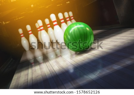 Bowling alley. Ball and pins. competition.