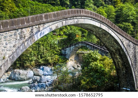 bridges old bridges historic bridges green nature water colorful çifteköprüler artvin turkey  #1578652795