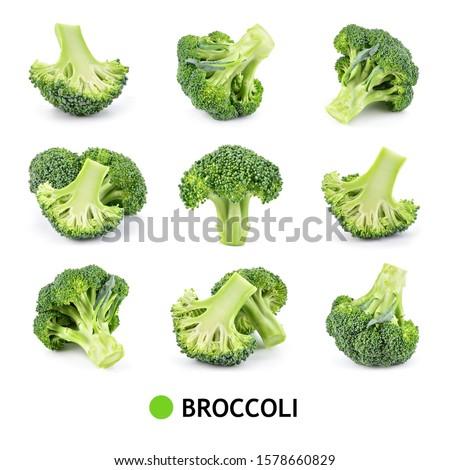 Broccoli isolated. Broccoli on white. Set of fresh broccoli. #1578660829