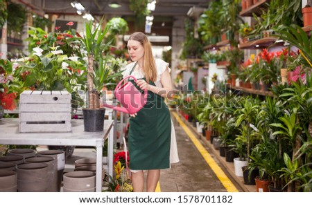 Woman florist working in floral shop; watering flowers from a plastic watering can #1578701182