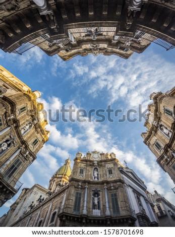 Piazza (square) dei Quattro Canti, also called Piazza (square) Villena or Ottagono del Sole or Teatro del Sole #1578701698