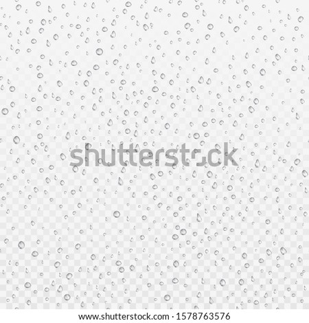 Seamless texture of Drops. Liquid clear droplet. Dew on glass surface. Realistic aqua pattern. vector illustration  #1578763576