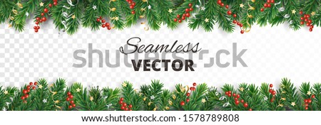 Seamless Christmas decoration isolated on white. Vector holiday border, frame. Gold and silver ornaments. Red holly berry on pine tree branches. For celebration banners, headers, posters. Royalty-Free Stock Photo #1578789808