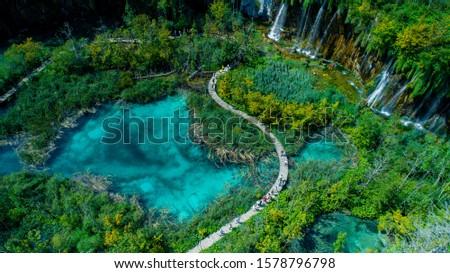 Сroatia, PLITVICE LAKES NATIONAL PARK drone shooting, panorama Royalty-Free Stock Photo #1578796798