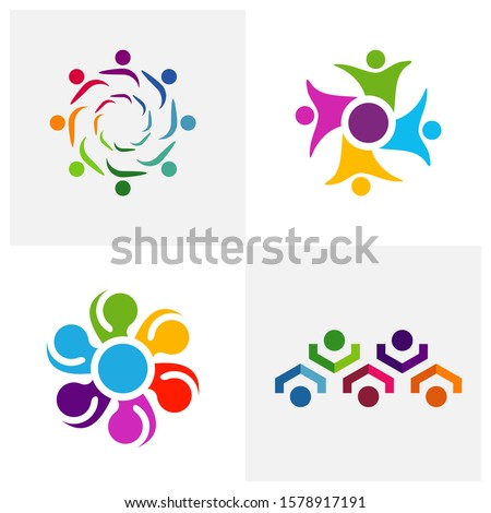 Set of Community logo design inspiration vector template, Social relationship logo and icon, Adoption care logo concept, Icon symbol #1578917191