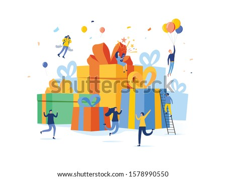 Group of happy people with pile of big gift box, online reward, present vector illustration concept, can use for landing page, template, ui web, homepage, poster, banner, flyer. Christmas gifts #1578990550